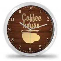 Kávés falióra, kávéház felirat
