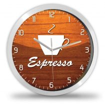 Kávés falióra, espresso felirat