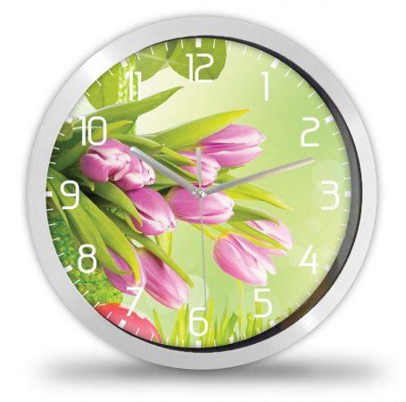 Tulipános falióra, rózsaszín-zöld