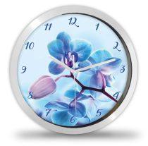 Kék orchidea virágos falióra