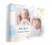 Vászonkép baba születése alkalmából, kisfiús színekkel