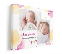 Vászonkép baba születése alkalmából, kislányos színekkel